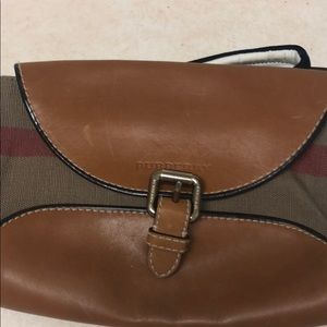 Burberry check tan leather/fabric crossbody